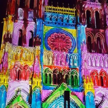Amiens cathédrale spectacle Chroma,Somme
